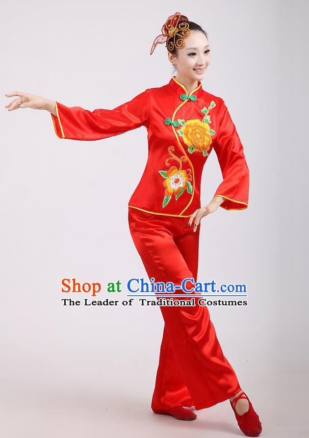 Traditional Chinese Classical Dance Yangge Fan Dance Costume, Folk Dance Drum Dance Peony Uniform Yangko Red Clothing for Women