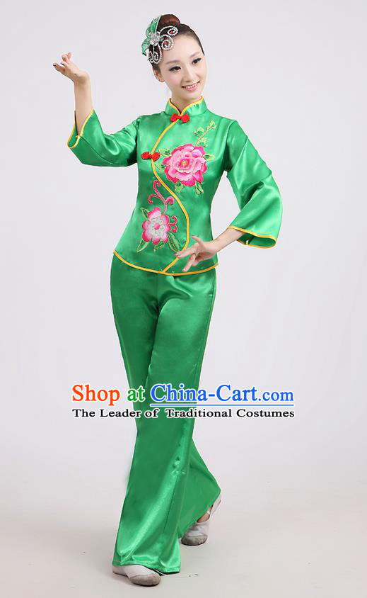 Traditional Chinese Classical Dance Yangge Fan Dance Costume, Folk Dance Drum Dance Peony Uniform Yangko Green Clothing for Women
