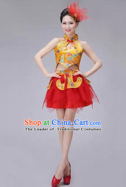 Traditional Chinese Modern Dance Costume, China Style Women Opening Dance Chorus Group Uniforms Short Golden Bubble Dress for Women