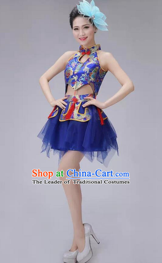 Traditional Chinese Modern Dance Costume, China Style Women Opening Dance Chorus Group Uniforms Short Blue Bubble Dress for Women