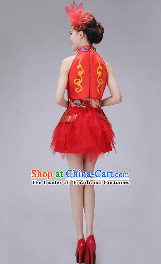 Traditional Chinese Modern Dance Costume, China Style Women Opening Dance Chorus Group Uniforms Short Red Bubble Dress for Women