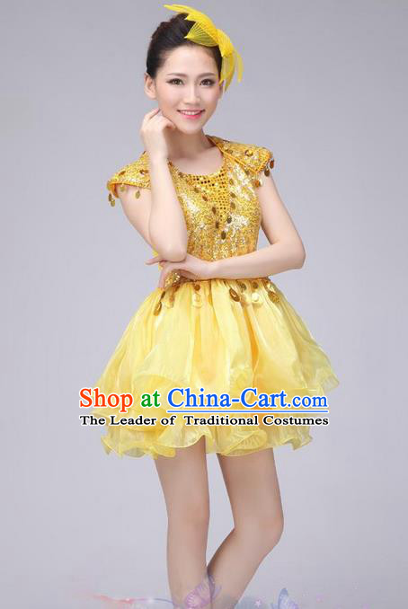 Traditional Chinese Modern Dance Costume, China Style Women Opening Dance Chorus Group Uniforms Golden Paillette Short Bubble Dress for Women