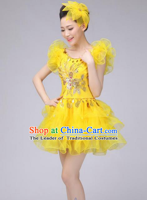 Traditional Chinese Modern Dance Costume, Women Opening Dance Chorus Group Uniforms Short Yellow Bubble Dress for Women
