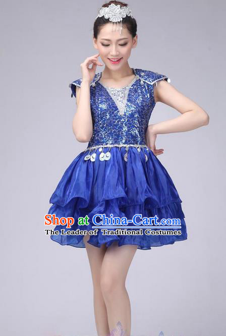 Traditional Chinese Modern Dance Costume, China Style Women Opening Dance Chorus Group Uniforms Blue Paillette Short Bubble Dress for Women