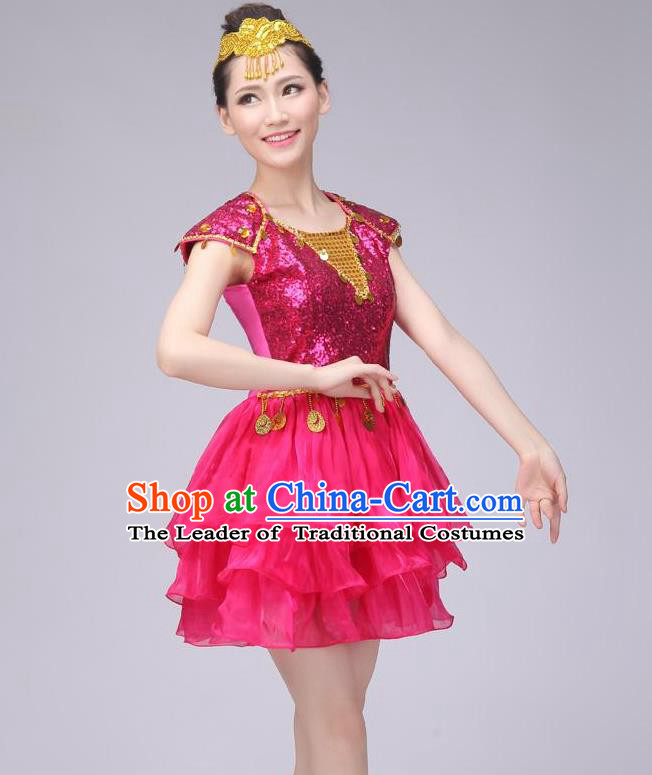 Traditional Chinese Modern Dance Costume, China Style Women Opening Dance Chorus Group Uniforms Rose Paillette Short Bubble Dress for Women