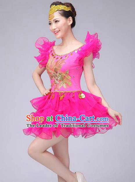 Traditional Chinese Modern Dance Costume, Women Opening Dance Chorus Group Uniforms Short Pink Bubble Dress for Women