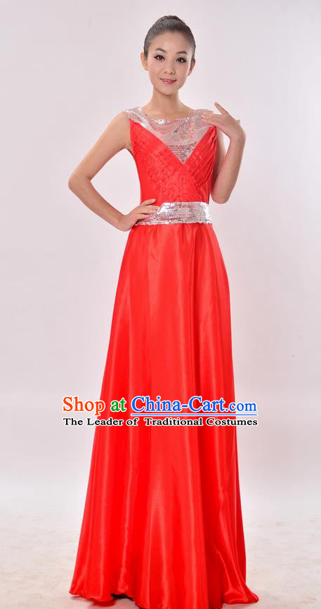 Top Grade Professional Compere Modern Dance Costume, Women Opening Dance Chorus Singing Group Uniforms Red Paillette Long Dress for Women