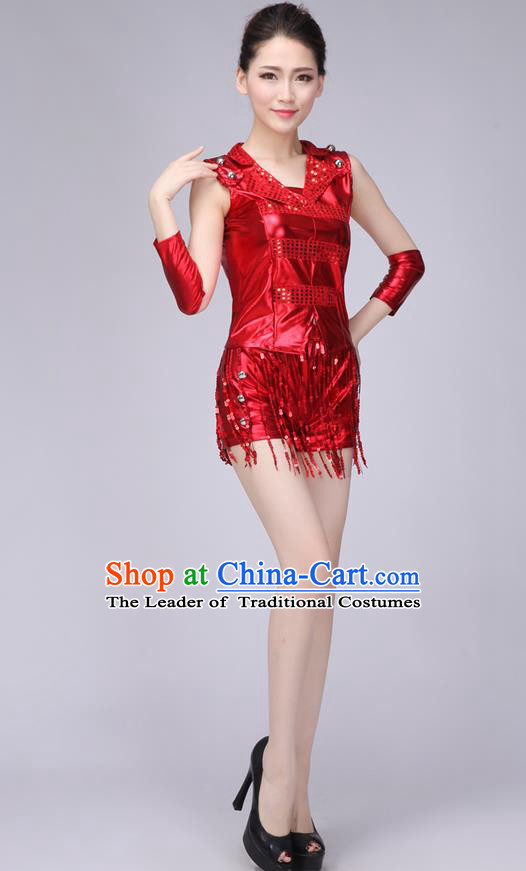 Top Grade Professional Modern Dance Costume, Jazz Dance Uniforms Red Paillette Clothing for Women