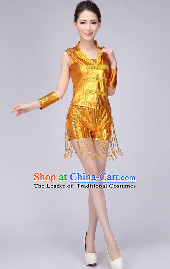 Top Grade Professional Modern Dance Costume, Jazz Dance Uniforms Golden Paillette Clothing for Women