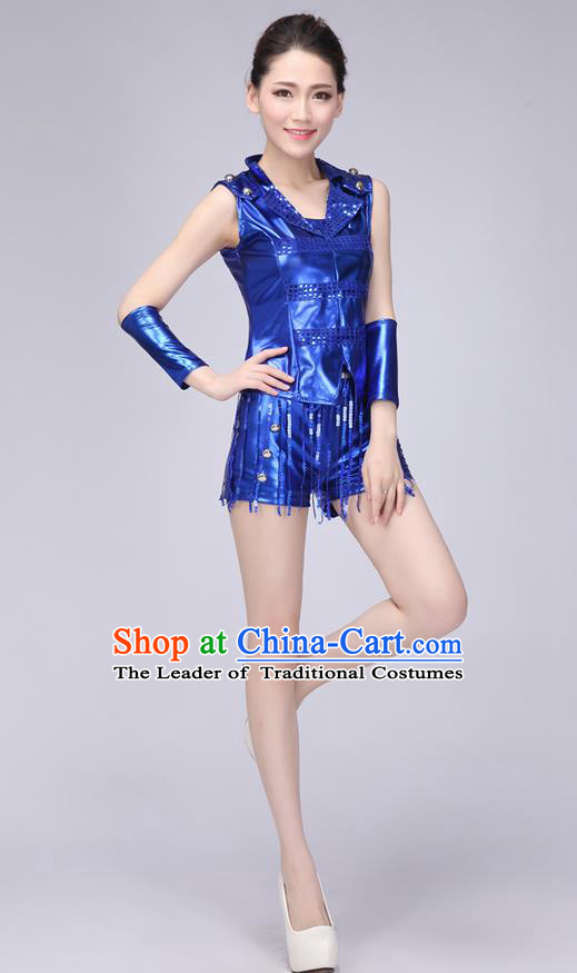Top Grade Professional Modern Dance Costume, Jazz Dance Uniforms Blue Paillette Clothing for Women