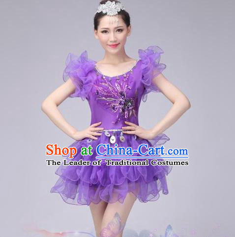 Traditional Chinese Modern Dance Costume, Women Opening Dance Chorus Group Uniforms Short Purple Bubble Dress for Women