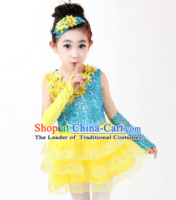 Top Grade Professional Performance Catwalks Costume, Children Chorus Full Dress Modern Dance Little Princess Paillette Yellow Bubble Dress for Girls Kids