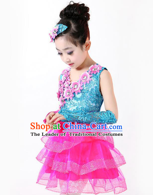 Top Grade Professional Performance Catwalks Costume, Children Chorus Full Dress Modern Dance Little Princess Paillette Pink Bubble Dress for Girls Kids