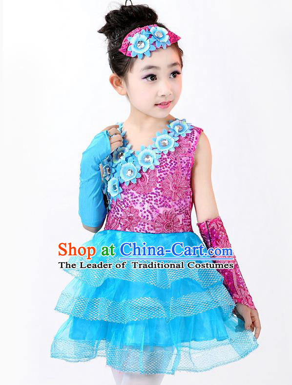 Top Grade Professional Performance Catwalks Costume, Children Chorus Full Dress Modern Dance Little Princess Paillette Blue Bubble Dress for Girls Kids