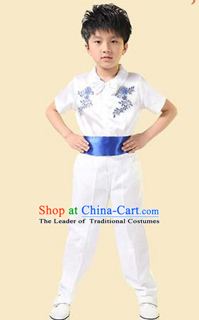 Top Grade Professional Performance Catwalks Costume, Children Chorus Modern Dance Paillette Clothing for Boys Kids