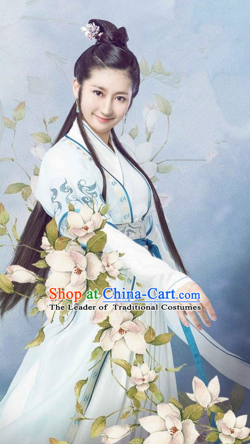 Chinese Teleplay Flower Shabana Flyings Sky Young Lady Embroidered Dress, Traditional Chinese Ancient Song Dynasty Imperial Princess Costume and Headpiece Complete Set for Women