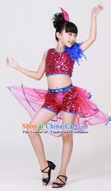 Top Grade Professional Performance Catwalks Costume, Children Jazz Dress Modern Dance Clothing for Girls Kids