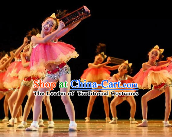 Top Grade Professional Performance Catwalks Costume, Children Dress Modern Dance Clothing for Girls Kids
