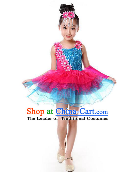 Top Grade Professional Performance Catwalks Costume, Children Full Dress Modern Dance Little Princess Bubble Dress for Girls Kids
