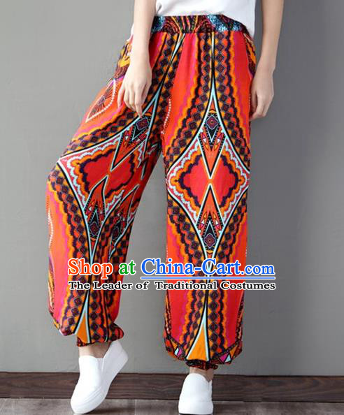 Traditional Chinese National Costume Plus Fours, Elegant Hanfu Linen Bloomers, China Ethnic Minorities Pantalettes for Women