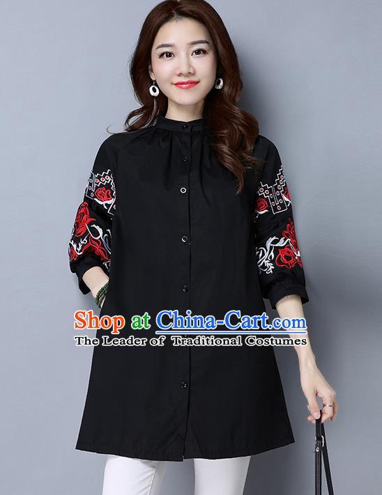 Traditional Chinese National Costume, Elegant Hanfu Embroidery Black Shirt, China Tang Suit Chirpaur Blouse Cheong-sam Upper Outer Garment Qipao Shirts Clothing for Women