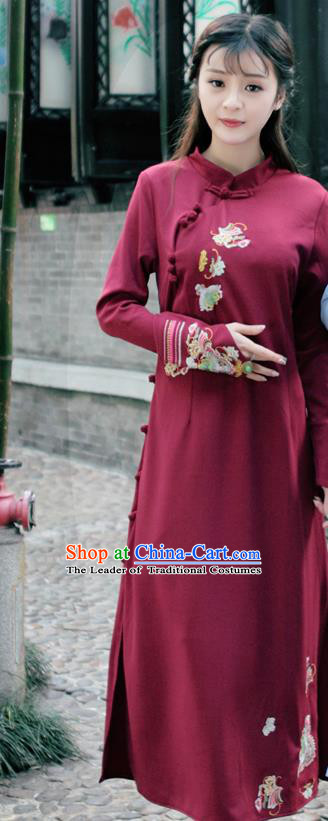 Traditional Ancient Chinese National Costume, Elegant Hanfu Mandarin Qipao Linen Hand Embroidery Wine Red Dress, China Tang Suit Chirpaur Republic of China Stand Collar Cheongsam Upper Outer Garment Elegant Dress Clothing for Women