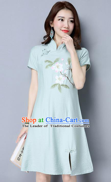 Traditional Ancient Chinese National Costume, Elegant Hanfu Mandarin Qipao Linen Hand Painting Blue Dress, China Tang Suit Chirpaur Republic of China Stand Collar Cheongsam Upper Outer Garment Elegant Dress Clothing for Women