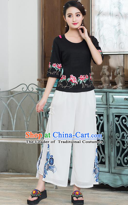 Traditional Chinese National Costume Loose Pants, Elegant Hanfu Embroidered Chiffon White Wide leg Pants, China Ethnic Minorities Tang Suit Ultra-wide-leg Trousers for Women