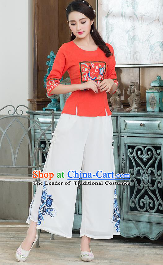 Traditional Chinese National Costume, Elegant Hanfu Embroidery Red T-Shirt, China Tang Suit Republic of China Plated Buttons Chirpaur Blouse Cheong-sam Upper Outer Garment Qipao Shirts Clothing for Women