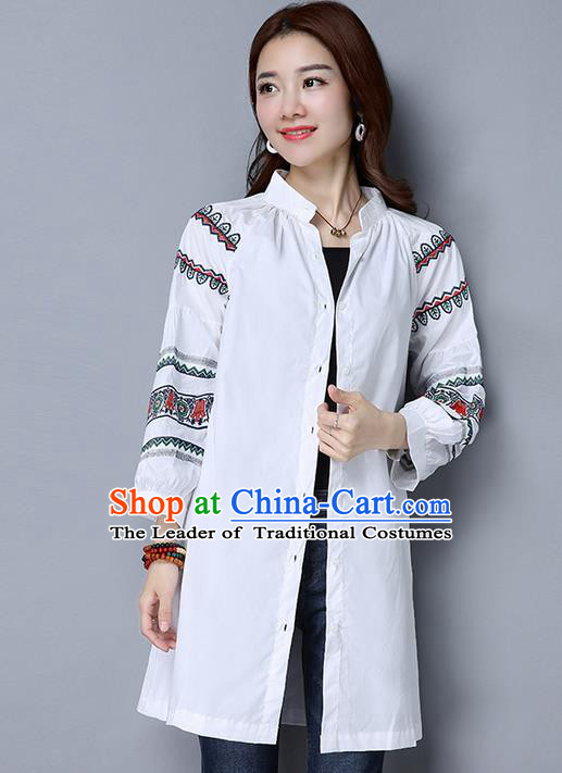 Traditional Chinese National Costume, Elegant Hanfu Embroidery White Shirt, China Tang Suit Republic of China Chirpaur Blouse Cheong-sam Upper Outer Garment Qipao Shirts Clothing for Women