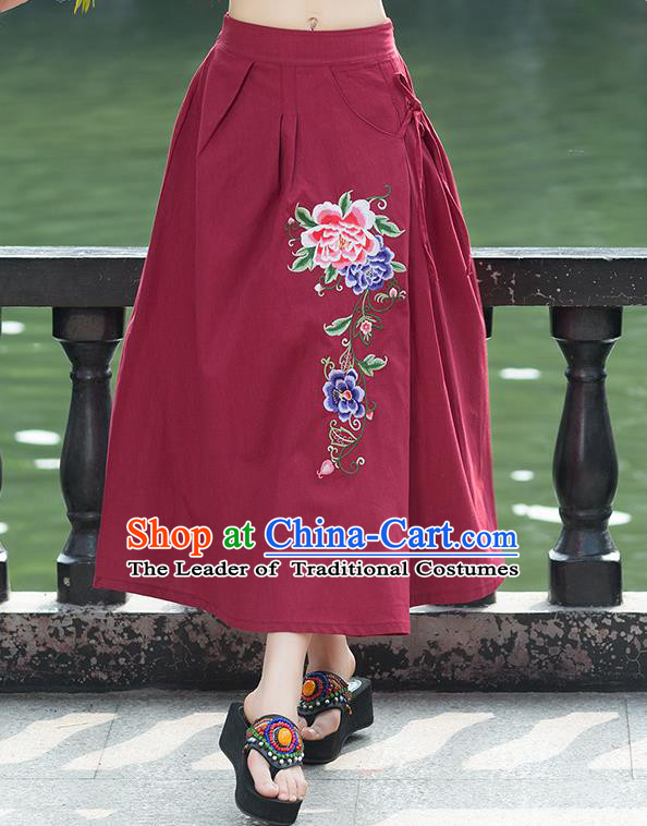 Traditional Ancient Chinese National Pleated Skirt Costume, Elegant Hanfu Linen Embroidery Long Red Skirts, China Tang Suit Bust Skirt for Women