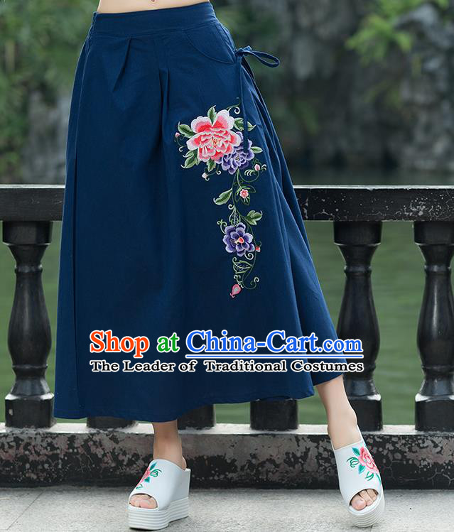 Traditional Ancient Chinese National Pleated Skirt Costume, Elegant Hanfu Linen Embroidery Long Blue Skirts, China Tang Suit Bust Skirt for Women