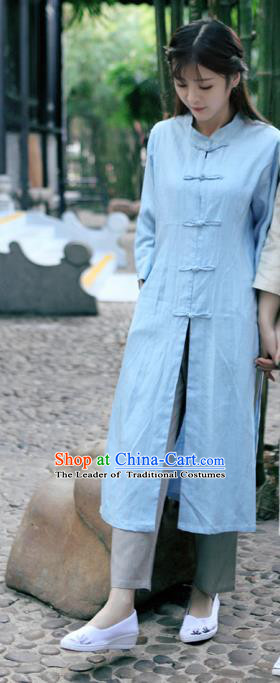 Traditional Ancient Chinese National Costume, Elegant Hanfu Stand Collar Blue Coat Robes, China Tang Suit Plated Buttons Cape, Upper Outer Garment Dust Coat Clothing for Women