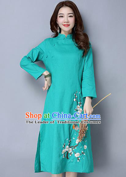 Traditional Ancient Chinese National Costume, Elegant Hanfu Mandarin Qipao Linen Painting Wintersweet Green Dress, China Tang Suit Stand Collar Chirpaur Republic of China Cheongsam Upper Outer Garment Elegant Dress Clothing for Women