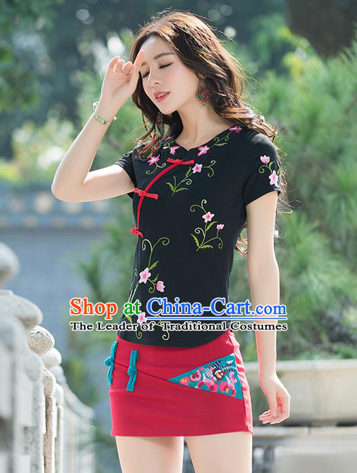 Traditional Chinese National Costume, Elegant Hanfu Embroidery Flowers Slant Opening Black T-Shirt, China Tang Suit Republic of China Plated Buttons Chirpaur Blouse Cheong-sam Upper Outer Garment Qipao Shirts Clothing for Women