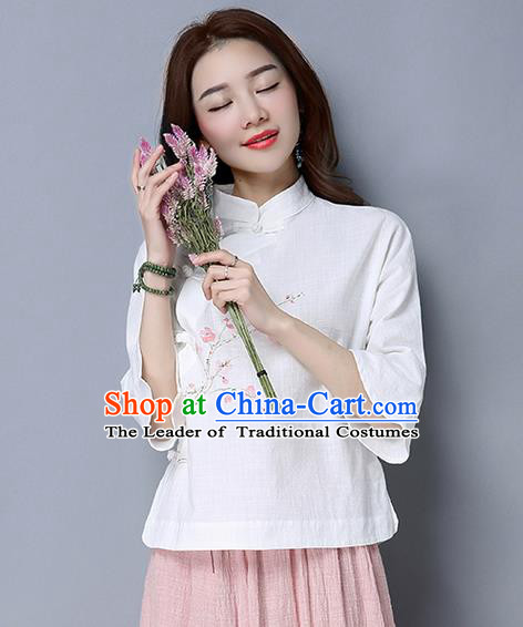 Traditional Chinese National Costume, Elegant Hanfu Painting Peach blossom Flowers Slant Opening White T-Shirt, China Tang Suit Republic of China Plated Buttons Chirpaur Stand Collar Blouse Cheong-sam Upper Outer Garment Qipao Shirts Clothing for Women