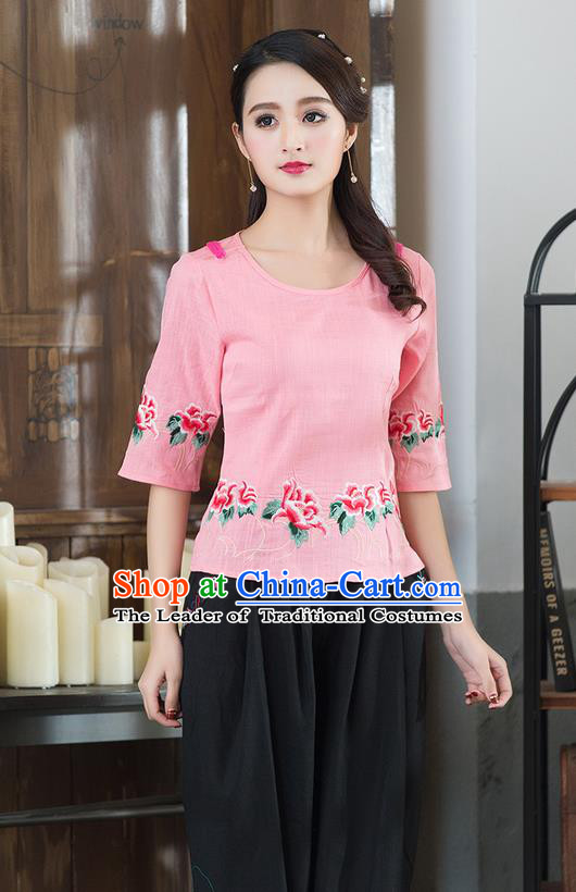 Traditional Chinese National Costume, Elegant Hanfu Embroidery Flowers Round Collar Pink T-Shirt, China Tang Suit Republic of China Plated Buttons Chirpaur Blouse Cheong-sam Upper Outer Garment Qipao Shirts Clothing for Women