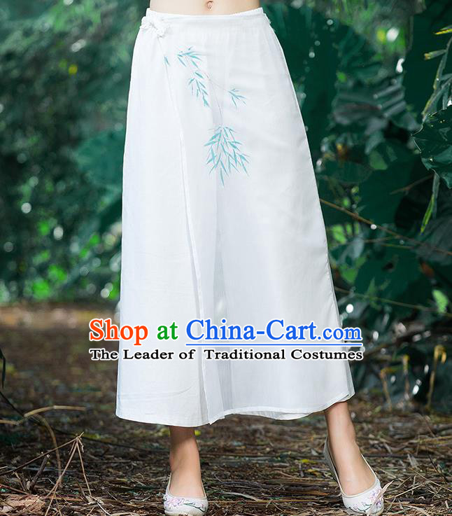 Traditional Chinese National Costume Loose Pants, Elegant Hanfu Hand Painting Bamboo leaves Chiffon White Wide leg Pants, China Ethnic Minorities Tang Suit Ultra-wide-leg Trousers for Women
