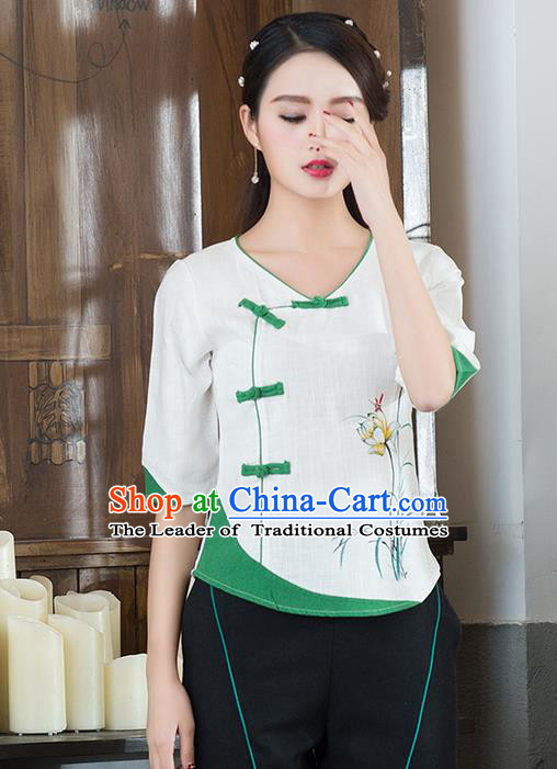 Traditional Chinese National Costume, Elegant Hanfu Printing Orchid Flowers Slant Opening White T-Shirt, China Tang Suit Republic of China Plated Buttons Chirpaur Blouse Cheong-sam Upper Outer Garment Qipao Shirts Clothing for Women