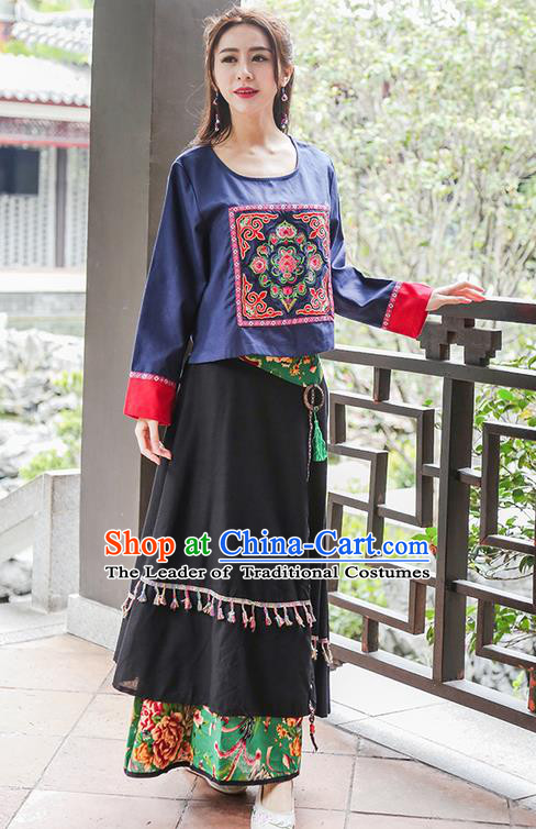Traditional Chinese National Costume, Elegant Hanfu Embroidery Flowers Round Collar Navy T-Shirt, China Tang Suit National Minority Blouse Cheong-sam Upper Outer Garment Qipao Shirts Clothing for Women