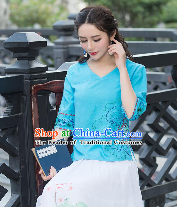 Traditional Chinese National Costume, Elegant Hanfu Embroidery Flowers Blue T-Shirt, China Tang Suit Republic of China Chirpaur Blouse Cheong-sam Upper Outer Garment Qipao Shirts Clothing for Women