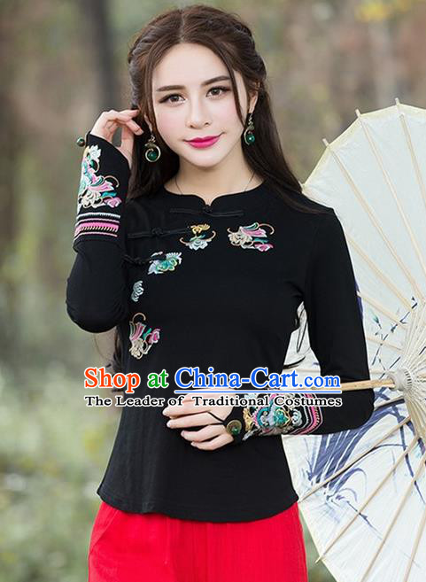 Traditional Chinese National Costume, Elegant Hanfu Embroidery Flowers Slant Opening Black Blouse, China Tang Suit Republic of China Plated Buttons Chirpaur Blouse Cheong-sam Upper Outer Garment Qipao Shirts Clothing for Women