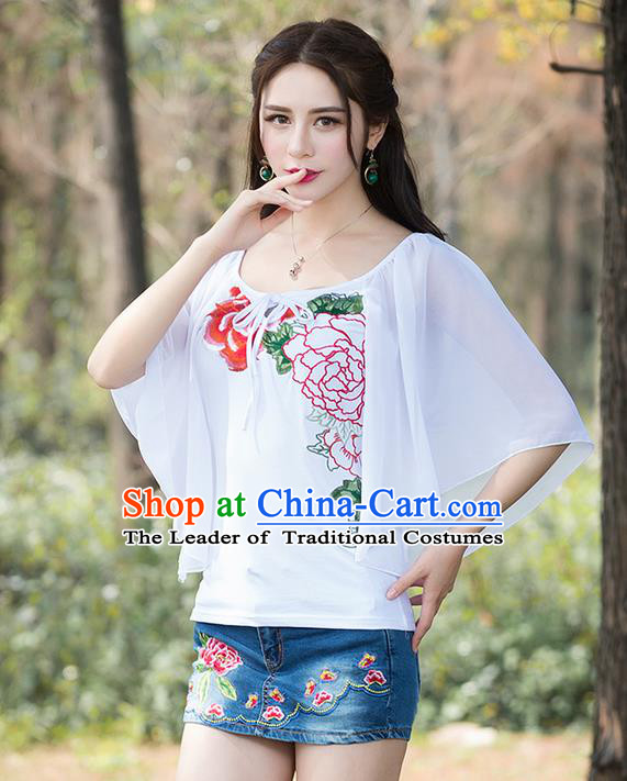 Traditional Chinese National Costume, Elegant Hanfu Embroidery Flowers White Blouse, China Tang Suit Republic of China Chirpaur Blouse Cheong-sam Upper Outer Garment Qipao Shirts Clothing for Women