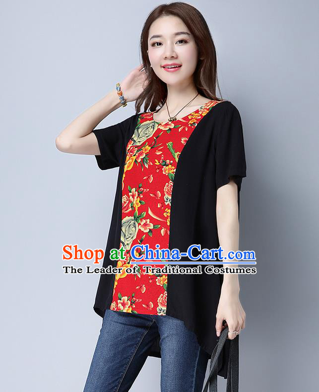 Traditional Chinese National Costume, Elegant Hanfu Patch Black Blouses, China Tang Suit Republic of China Chirpaur Blouse Cheong-sam Upper Outer Garment Qipao Shirts Clothing for Women