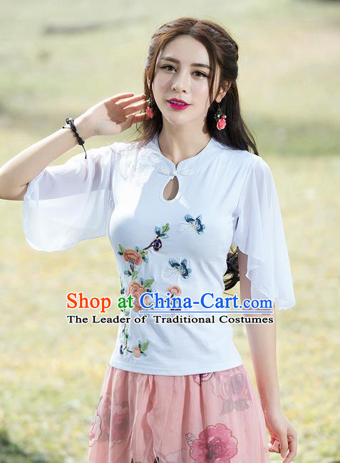 Traditional Chinese National Costume, Elegant Hanfu Embroidery Flowers Mandarin Sleeve White T-Shirt, China Tang Suit Republic of China Plated Buttons Chirpaur Blouse Cheong-sam Upper Outer Garment Qipao Shirts Clothing for Women