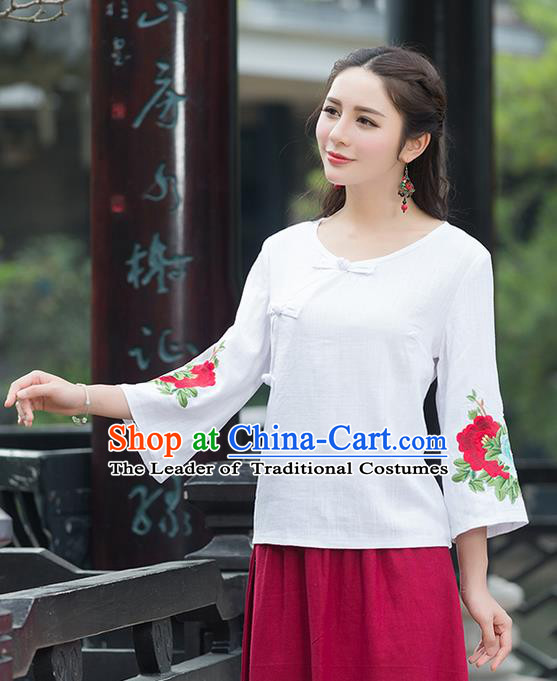 Traditional Chinese National Costume, Elegant Hanfu Embroidery Flowers Slant Opening Mandarin Sleeve White T-Shirt, China Tang Suit Republic of China Plated Buttons Chirpaur Blouse Cheong-sam Upper Outer Garment Qipao Shirts Clothing for Women