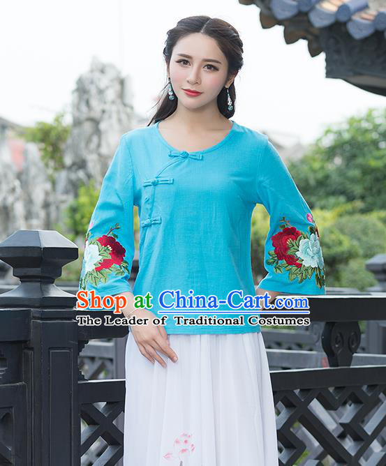 Traditional Chinese National Costume, Elegant Hanfu Embroidery Flowers Slant Opening Mandarin Sleeve Blue T-Shirt, China Tang Suit Republic of China Plated Buttons Chirpaur Blouse Cheong-sam Upper Outer Garment Qipao Shirts Clothing for Women