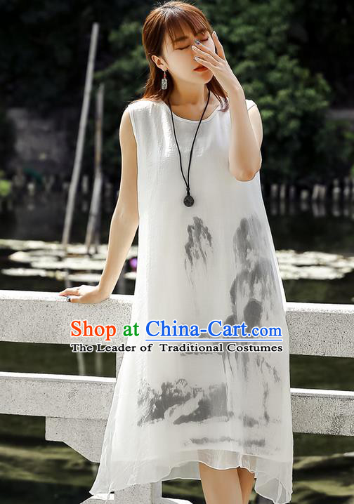 Traditional Ancient Chinese National Costume, Elegant Hanfu Ink Painting White Dress, China Tang Suit Chirpaur Republic of China Cheongsam Upper Outer Garment Elegant Dress Clothing for Women