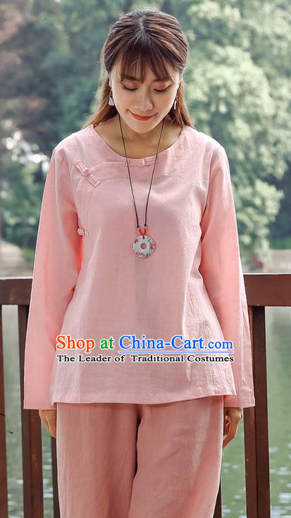 Traditional Chinese National Costume, Elegant Hanfu Linen Slant Opening Pink Shirt, China Tang Suit Republic of China Plated Buttons Chirpaur Blouse Cheong-sam Upper Outer Garment Qipao Shirts Clothing for Women