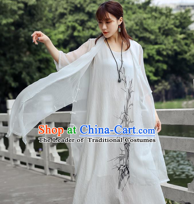 Traditional Ancient Chinese National Costume, Elegant Hanfu Chiffon White Cardigan Coat, China Tang Suit Plated Buttons Cape, Upper Outer Garment Dust Coat Cloak Clothing for Women